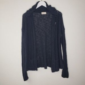 Hollister Navy Blue Hooded Open Sweater Cardigan